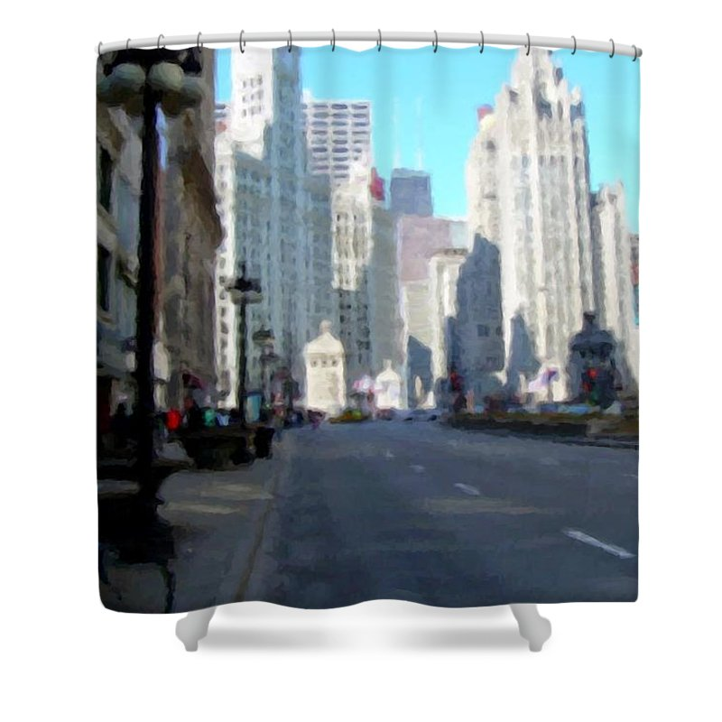Chicago Shower Curtain featuring the digital art Michigan Ave Tall by Anita Burgermeister