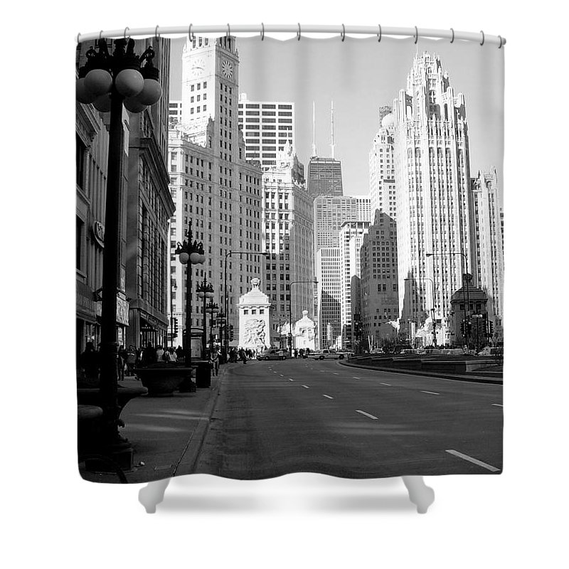 Chicago Shower Curtain featuring the photograph Michigan Ave Tall B-w by Anita Burgermeister