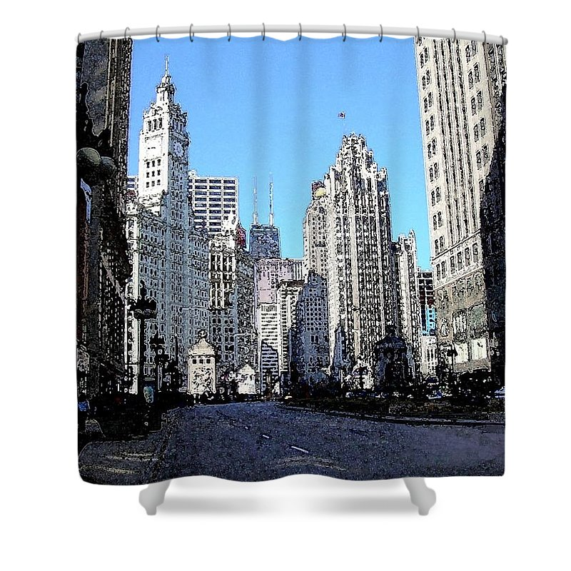 Chicago Shower Curtain featuring the digital art Michigan Ave Wide by Anita Burgermeister