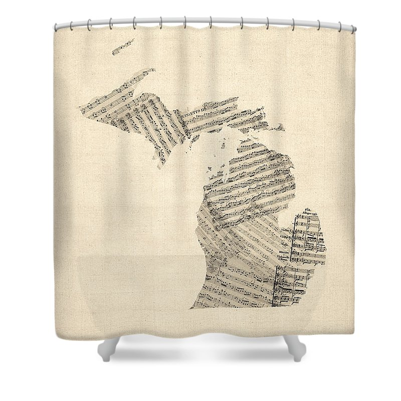 Michigan Shower Curtain Featuring The Digital Art Map Old Sheet Music By Michael