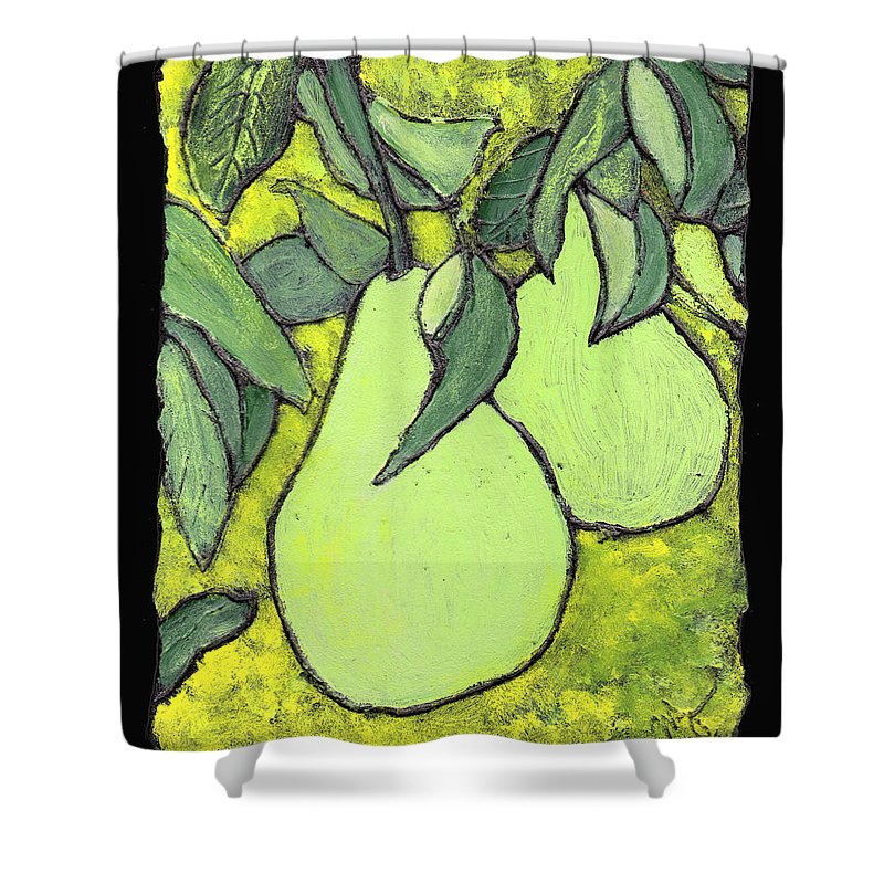 Pears Shower Curtain featuring the painting Michigan Pears by Wayne Potrafka