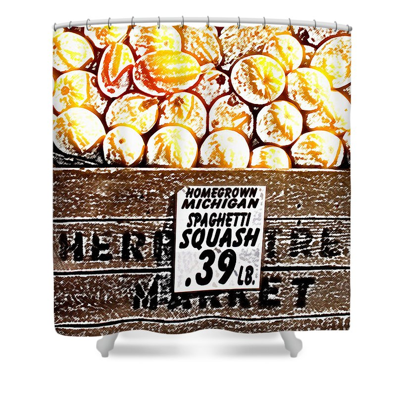 Altered Shower Curtain featuring the photograph Michigan Squash For Sale by Wayne Potrafka