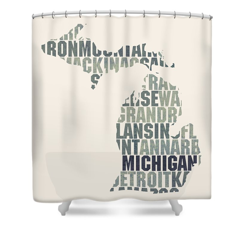 Michigan Shower Curtain Featuring The Mixed Media State Outline Word Map By Design Turnpike