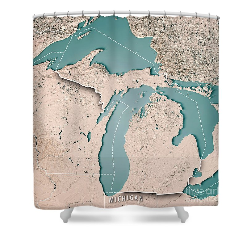 Michigan State Usa 3d Render Topographic Map Neutral Border Shower