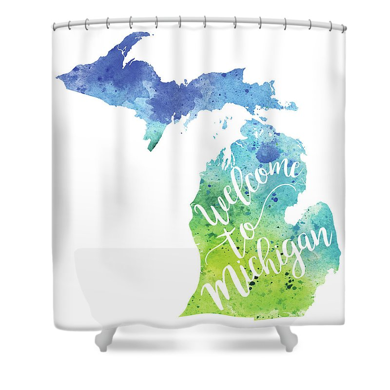 Painting Shower Curtain Featuring The Michigan Watercolor Map