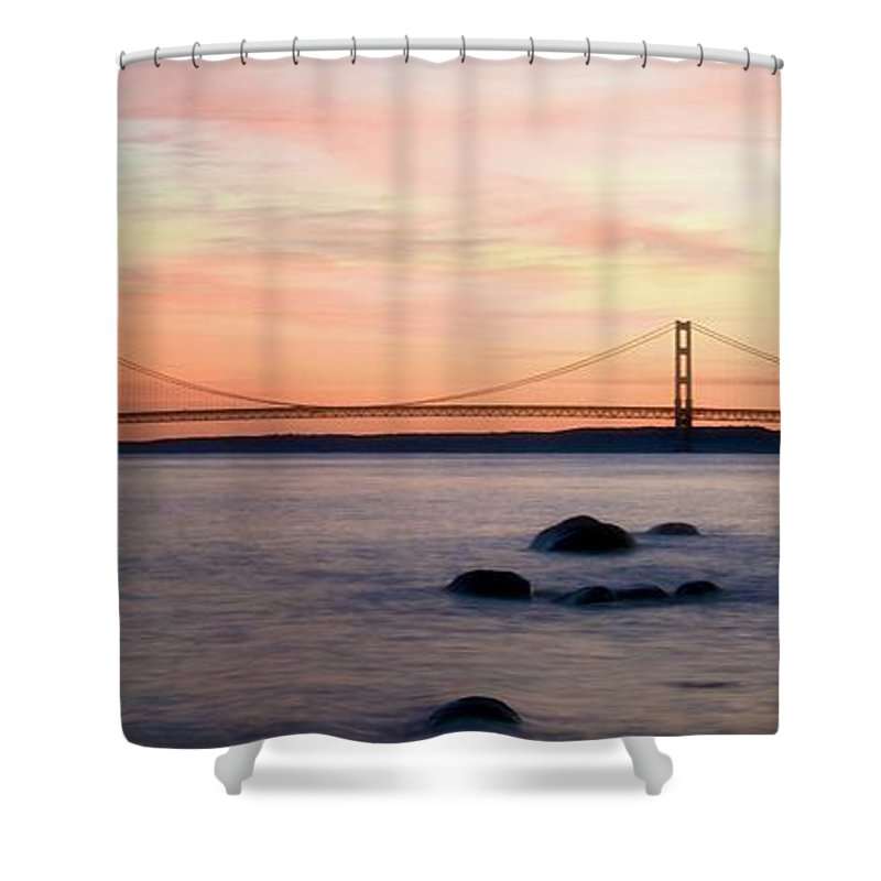 Flagged Shower Curtain featuring the photograph Michigan's Mackinac Bridge by Betty Arnold