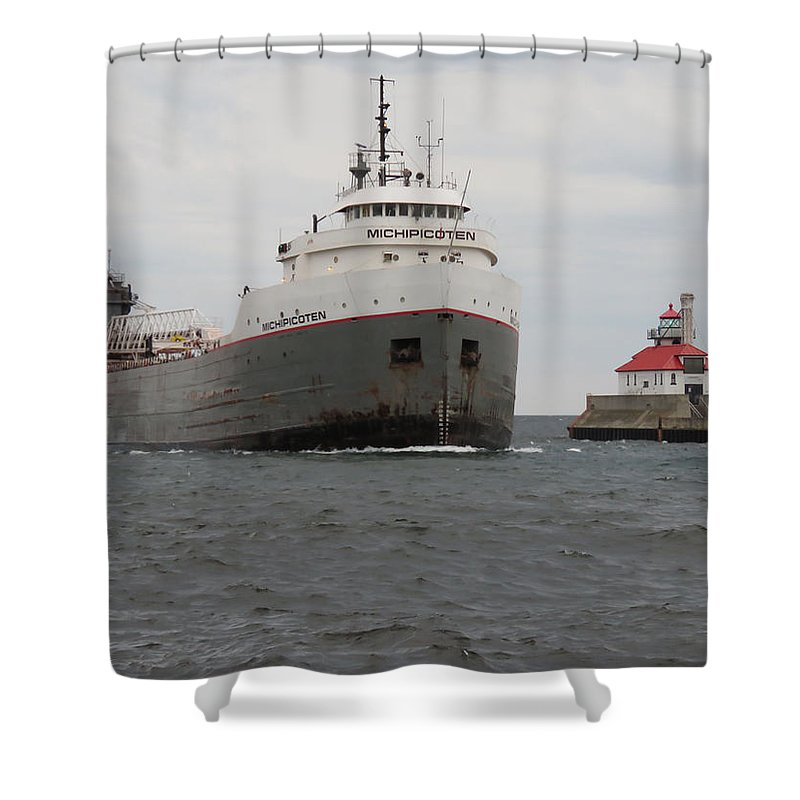 Great Lakes Shower Curtain featuring the photograph Michipicoten by Alison Gimpel