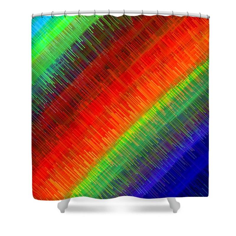 Micro Linear Shower Curtain featuring the digital art Micro Linear Rainbow by Will Borden