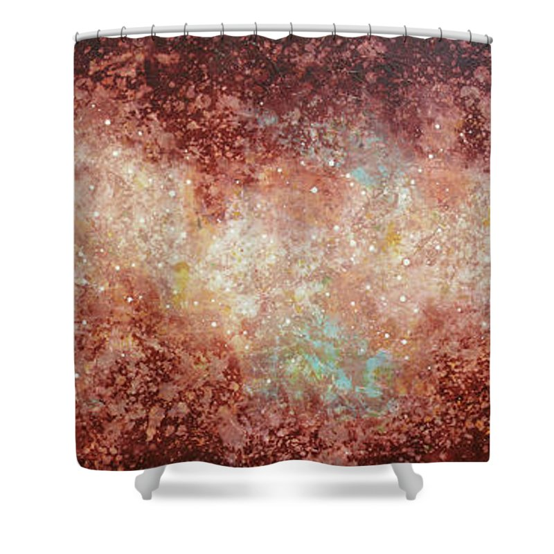 Large Abstract Shower Curtain featuring the painting Microcosm by Jaison Cianelli