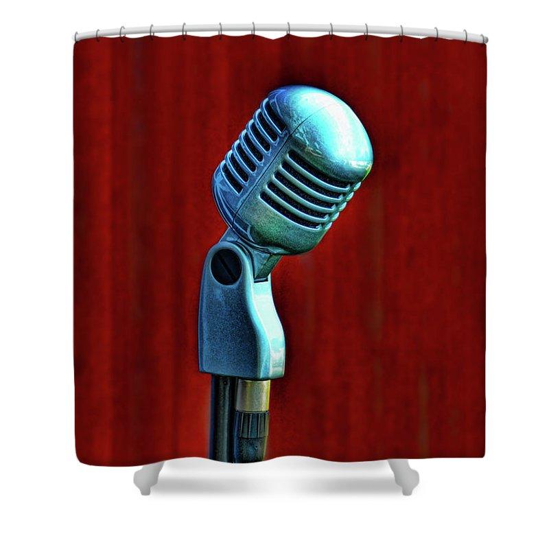 Microphone Shower Curtain featuring the photograph Microphone by Jill Battaglia