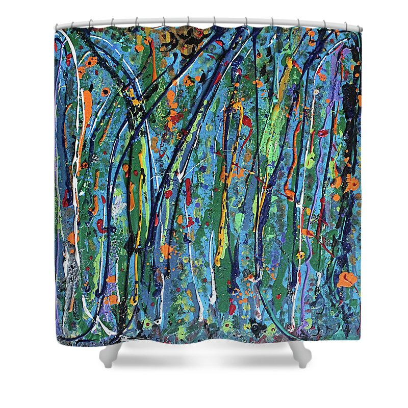 Bright Shower Curtain featuring the painting Mid-Summer Night's Dream by Pam Roth O'Mara
