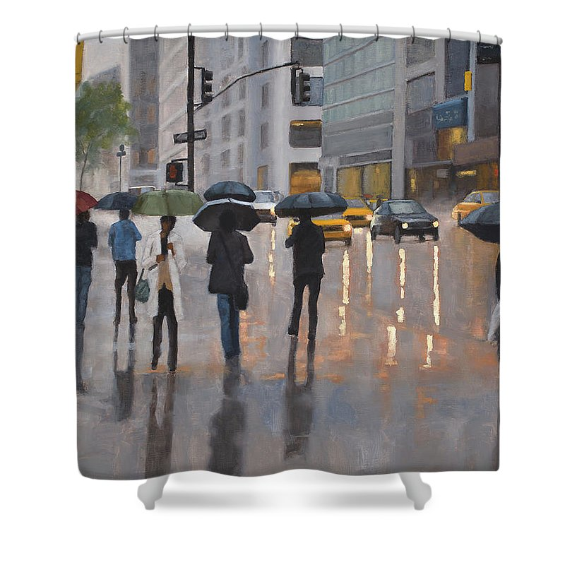 Oil Painting Shower Curtain featuring the painting Mid town by Tate Hamilton