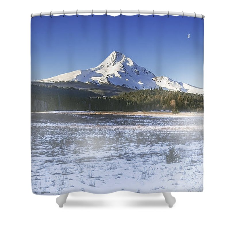 Mountain Shower Curtain featuring the digital art Mid-winter Morning by John Christopher