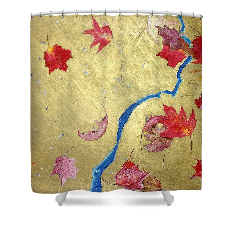 Abstract Shower Curtain featuring the painting Midas Fall by Steve Karol
