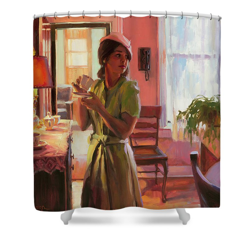 Nostalgia Shower Curtain featuring the painting Midday Tea by Steve Henderson