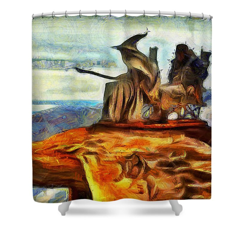 Middle Earth Shower Curtain featuring the digital art Middle Earth Airliner 2 - Da by Leonardo Digenio