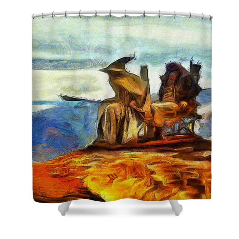 Middle Earth Shower Curtain featuring the digital art Middle Earth Airliner 3 - Da by Leonardo Digenio