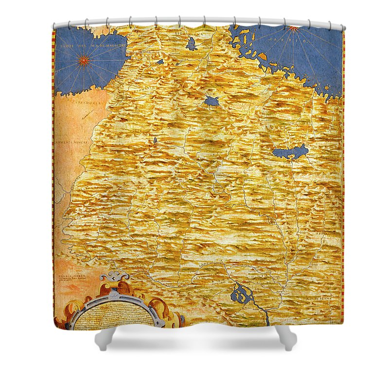Map Shower Curtain featuring the painting Middle East Georgia, Armenia, Azerbaijan, Iraq, Western Iran by Italian painter of the 16th century