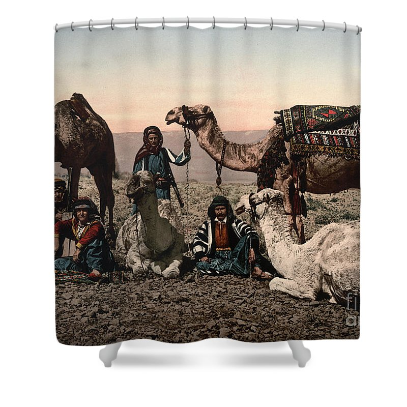 1890s Shower Curtain featuring the photograph Middle East: Travelers by Granger
