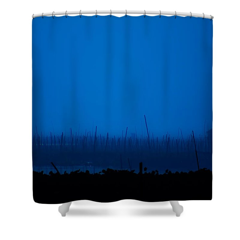 Lake Shower Curtain featuring the photograph Midnight Blue by George Cabig