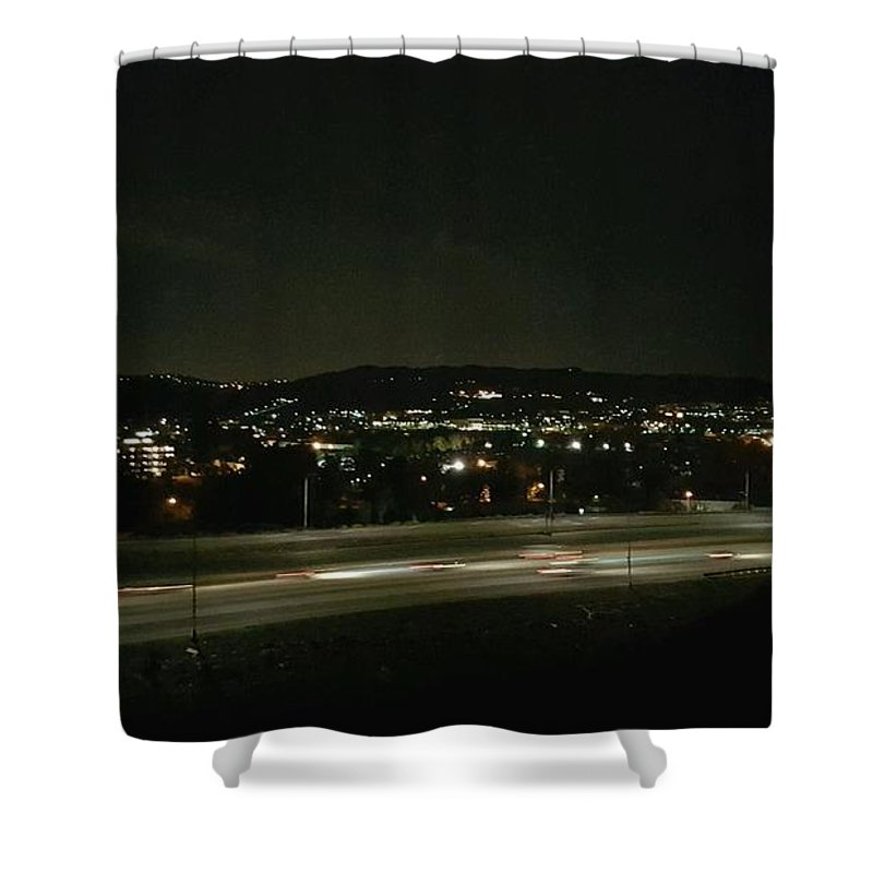 Mountains Shower Curtain featuring the photograph Midnight Lights by Shawna Salgado