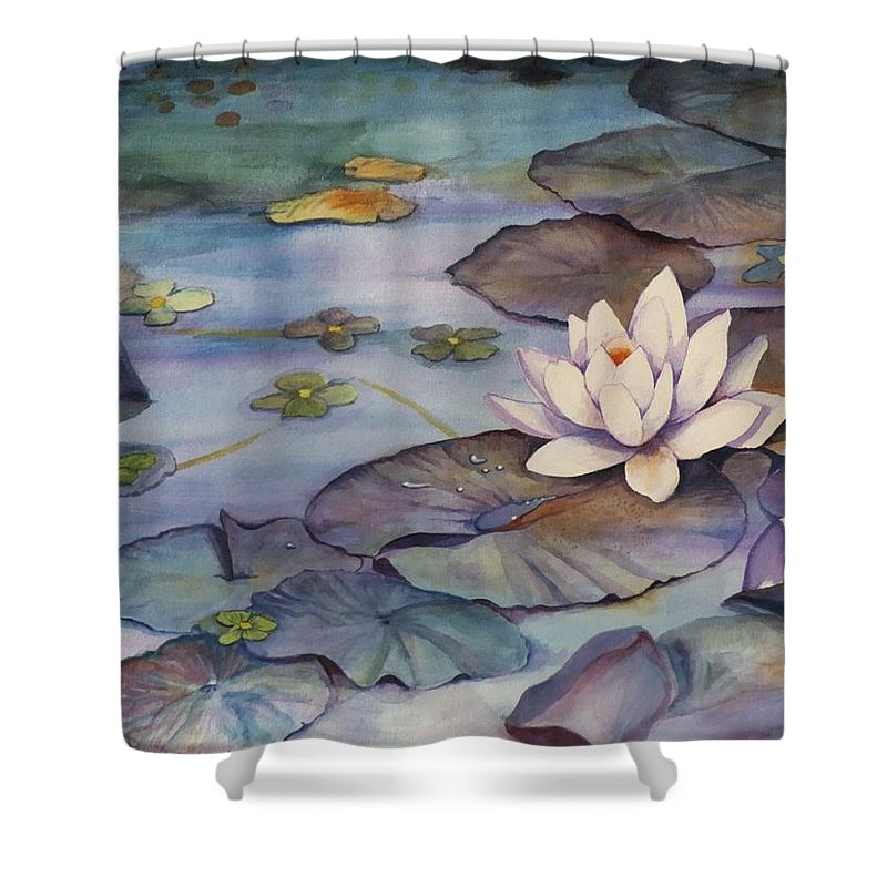Lily Shower Curtain featuring the painting Midnight Lily by Jun Jamosmos