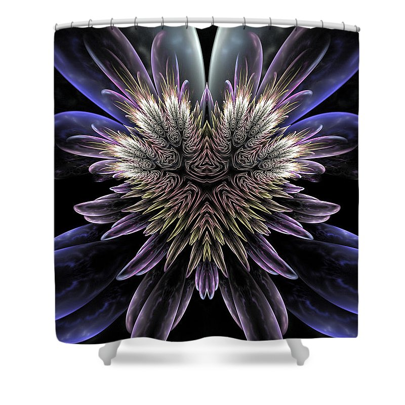 Fractal Art Shower Curtain Featuring The Digital Midnight Magnolia By Amorina Ashton