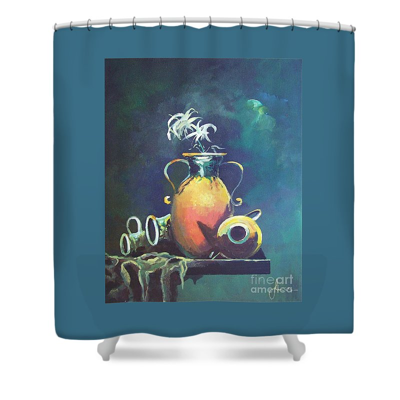 Still Life Shower Curtain featuring the painting Midnight Moon by Sinisa Saratlic