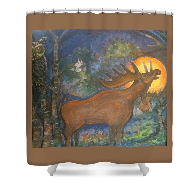 Mountain Majic Wild Life Shower Curtain featuring the mixed media Midnight Mountain Majic 2 by Walter M Davis