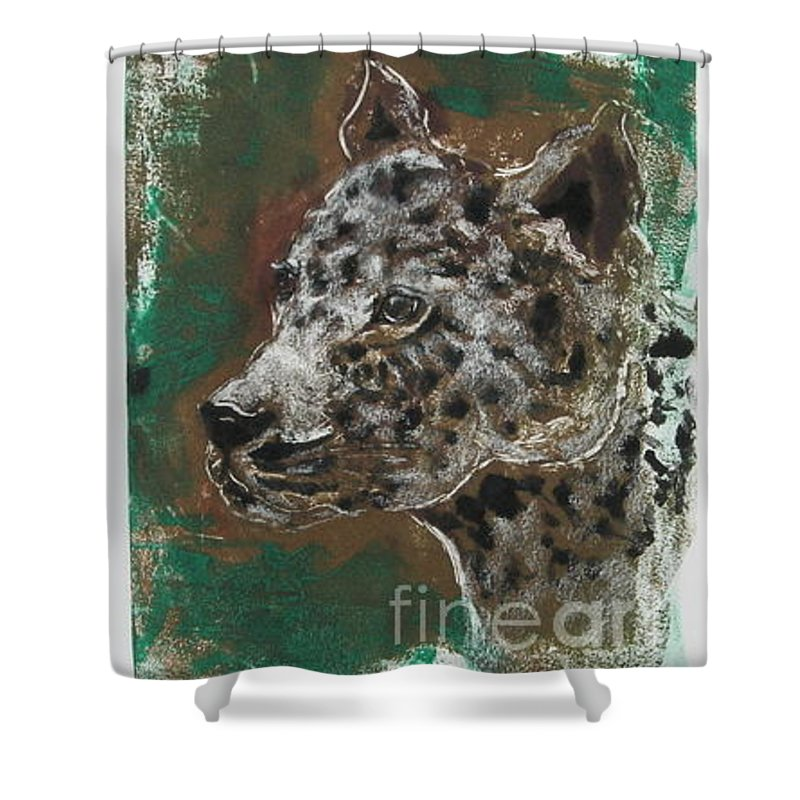 Monotype Shower Curtain featuring the mixed media Midnight Prowler by Cori Solomon