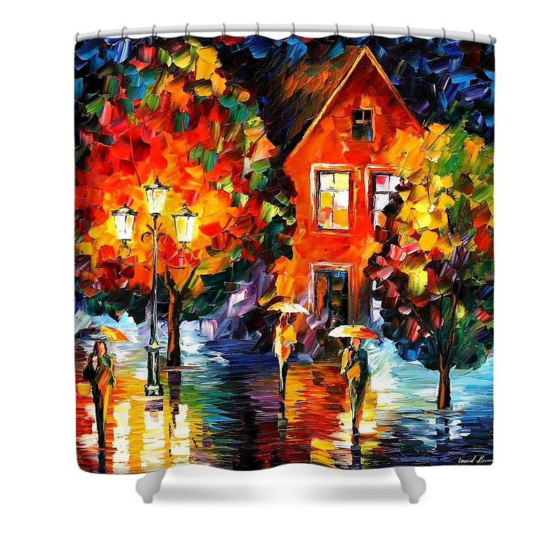 Afremov Shower Curtain featuring the painting Midnight Rain by Leonid Afremov