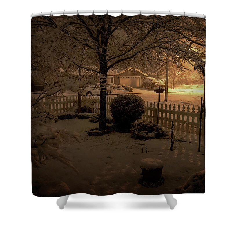Snow Shower Curtain featuring the photograph Midnight Special by Mick Anderson