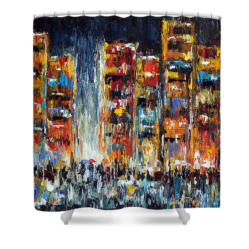 Cityscape Shower Curtain featuring the painting Midnight Strangers by Debra Hurd
