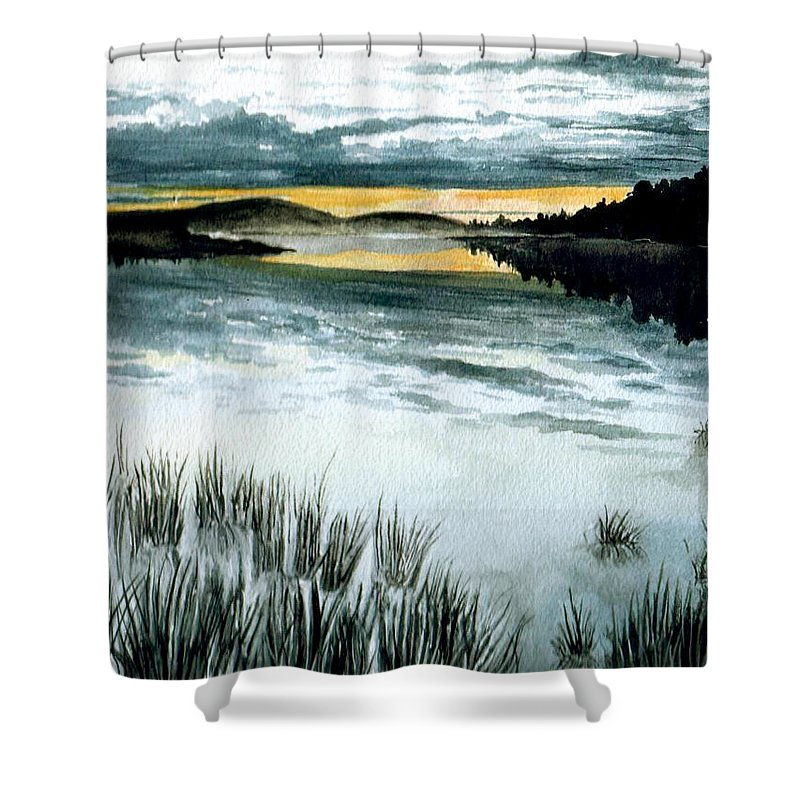 Watercolor Shower Curtain featuring the painting Midnight Sun by Brenda Owen