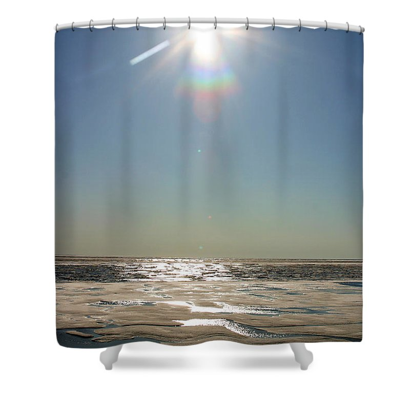 Arctic Shower Curtain featuring the photograph Midnight Sun Over The Arctic by Anthony Jones