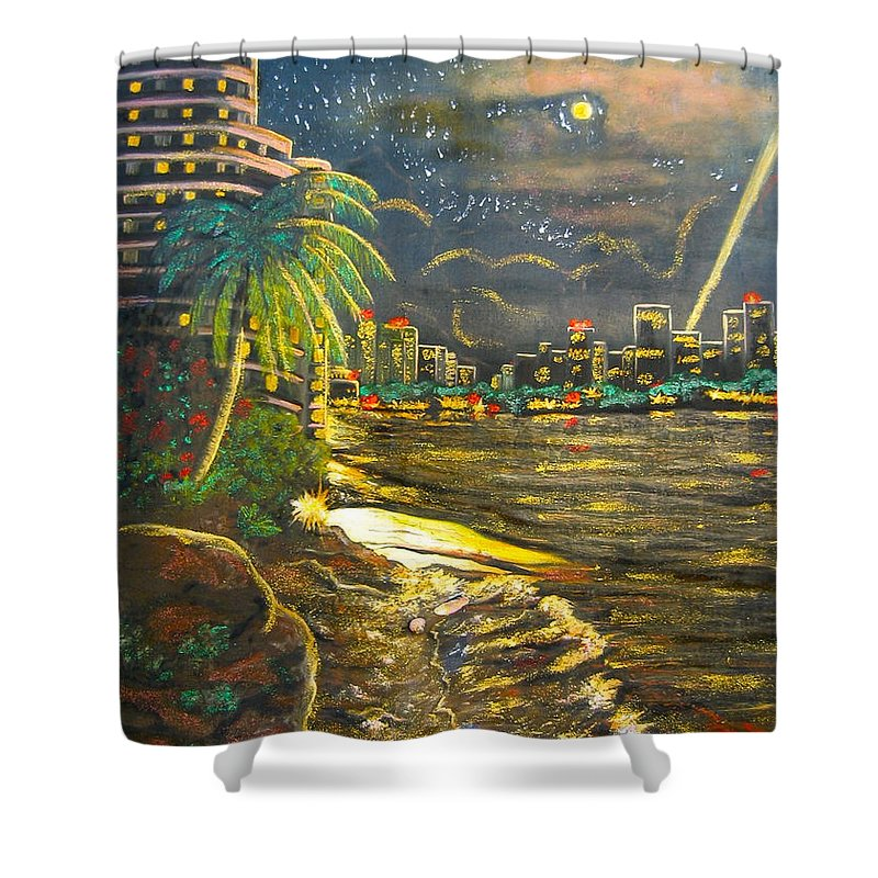 City Lights Shower Curtain featuring the painting Midnight Sun by V Boge