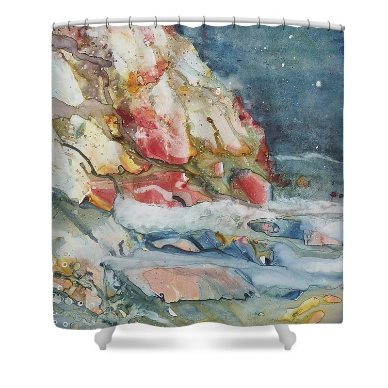 Abstract Shower Curtain featuring the painting Midnight Surf by Ruth Kamenev