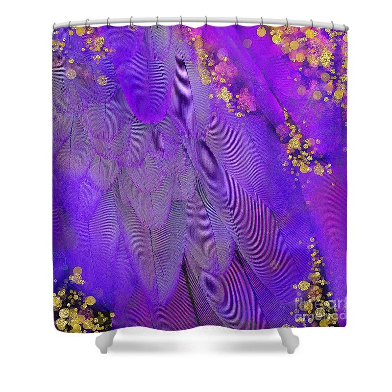 Fantasy Shower Curtain Featuring The Digital Art Midsummer Magik Purple Macaw Feathers Gold