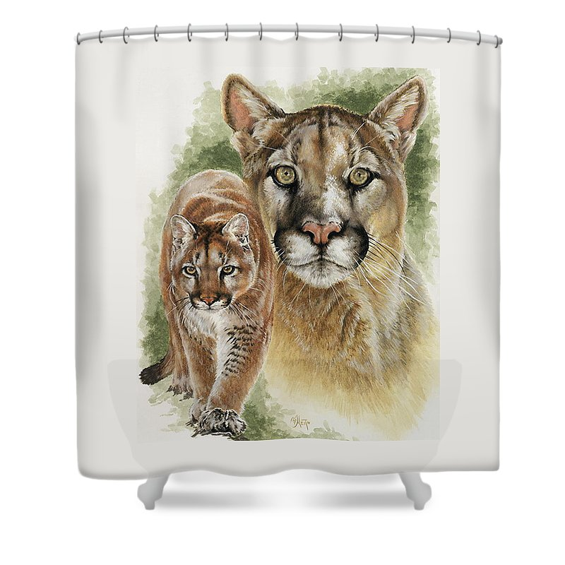 Cougar Shower Curtain featuring the mixed media Mighty by Barbara Keith