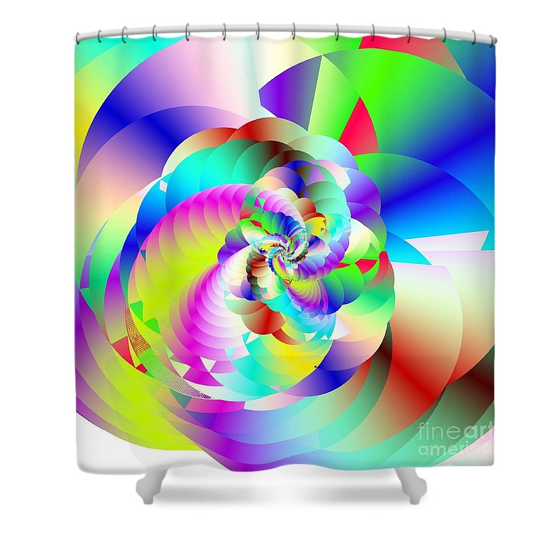 Rainbow Fractal Clouds Shower Curtain featuring the digital art Mighty Clouds Of Joy by Michael Skinner