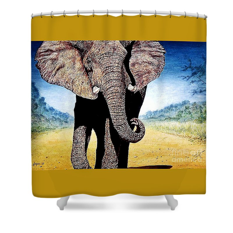 Elephant Shower Curtain featuring the painting Mighty Elephant by Hartmut Jager