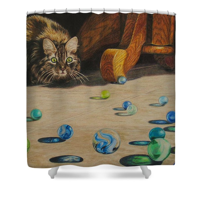Cats Shower Curtain featuring the drawing Mighty Hunter by Karen Ilari