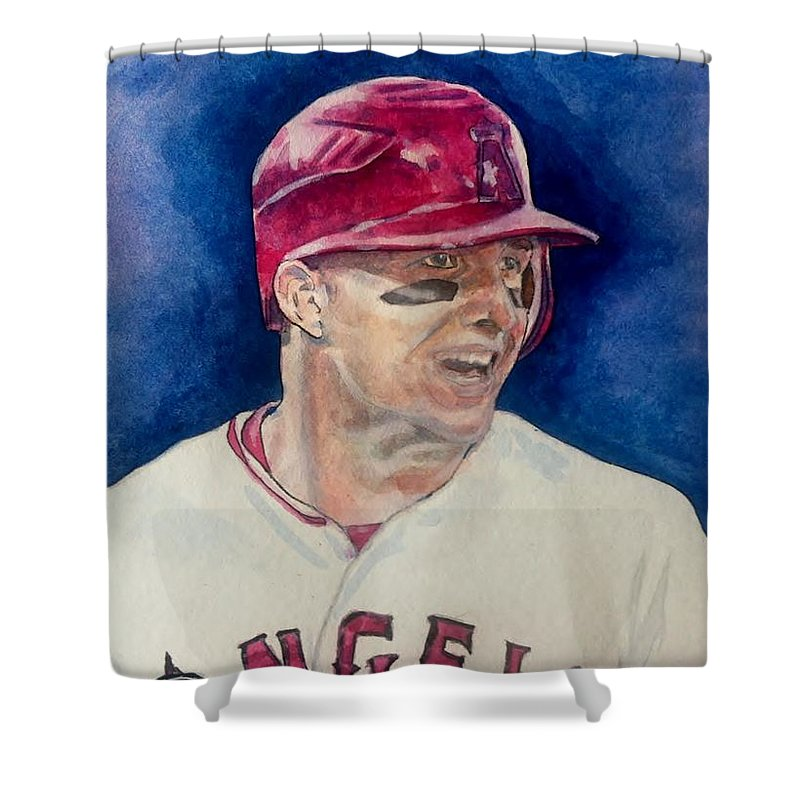 Los Angeles Shower Curtain Featuring The Painting Mike Trout By Nigel Wynter