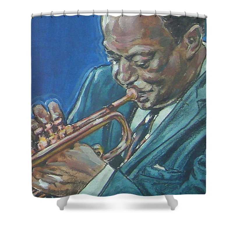 Miles Davis Shower Curtain featuring the painting Miles Davis by Bryan Bustard