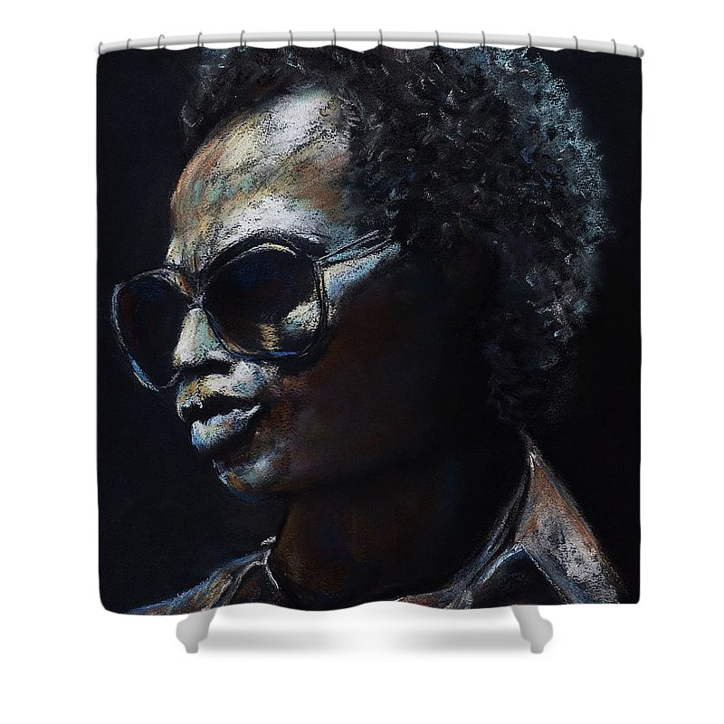 Miles Davis Shower Curtain featuring the painting Miles Davis by Frances Marino