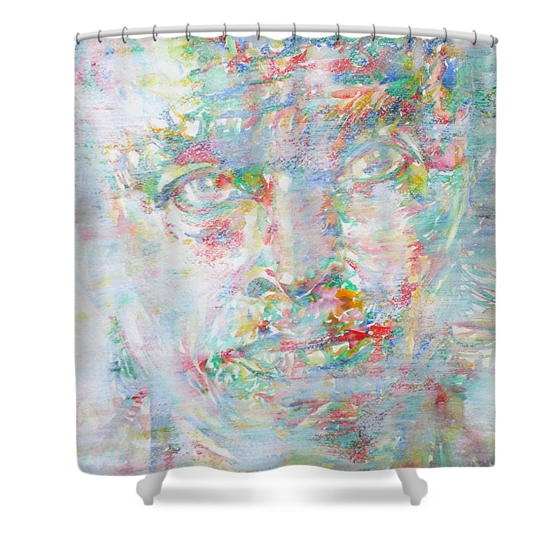 Miles Shower Curtain featuring the painting Miles Davis - Watercolor Portrait.4 by Fabrizio Cassetta