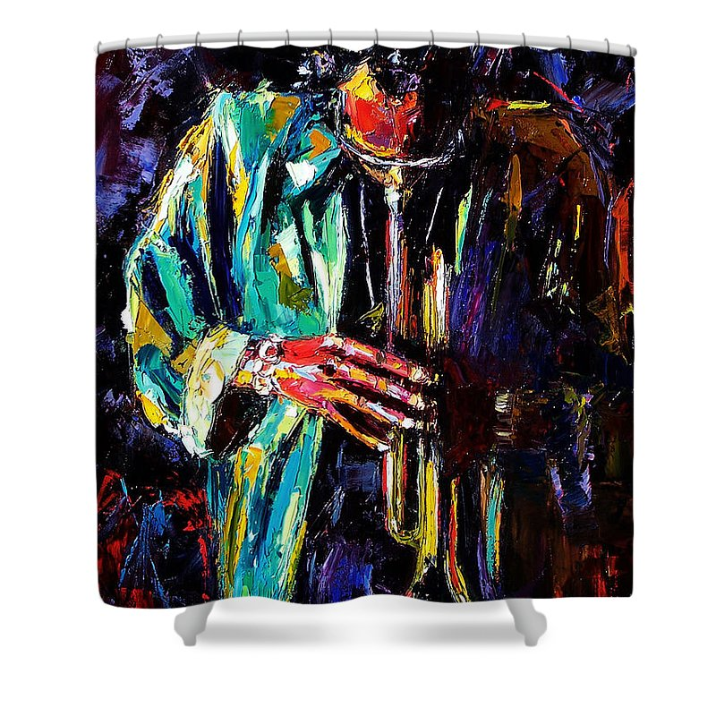 Miles Davis Shower Curtain featuring the painting Miles by Debra Hurd