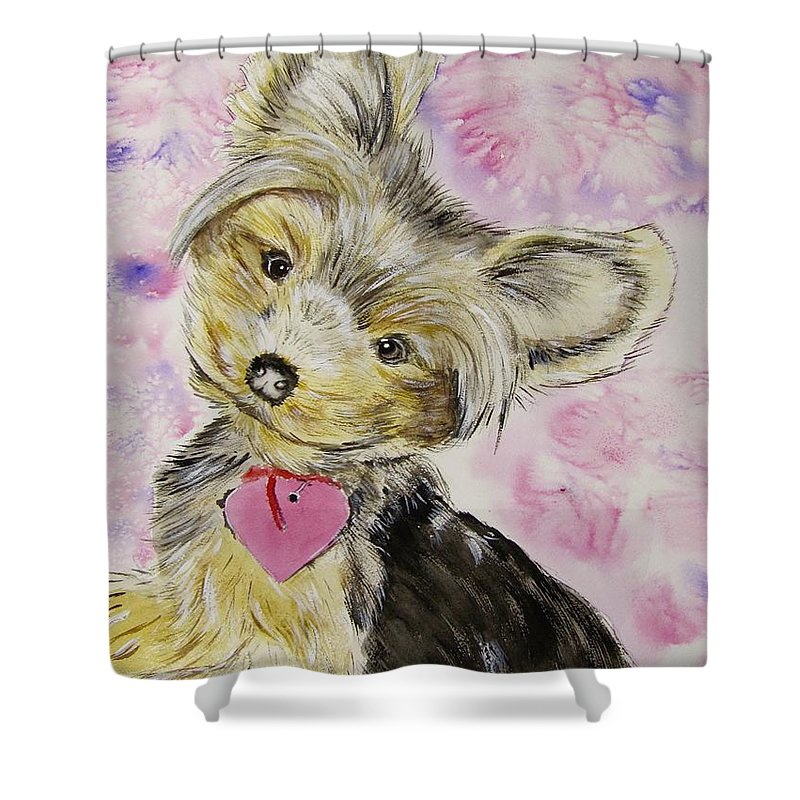 Yorkshire Terrier Shower Curtain featuring the painting Miley by Carol Blackhurst
