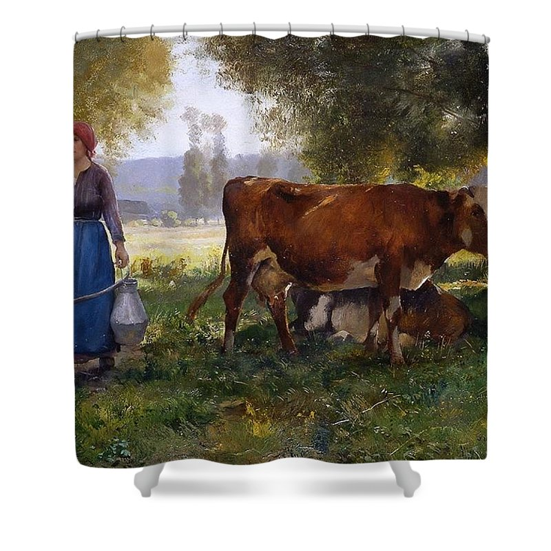 Julien Dupré - Milkmaid Shower Curtain featuring the painting Milkmaid by MotionAge Designs