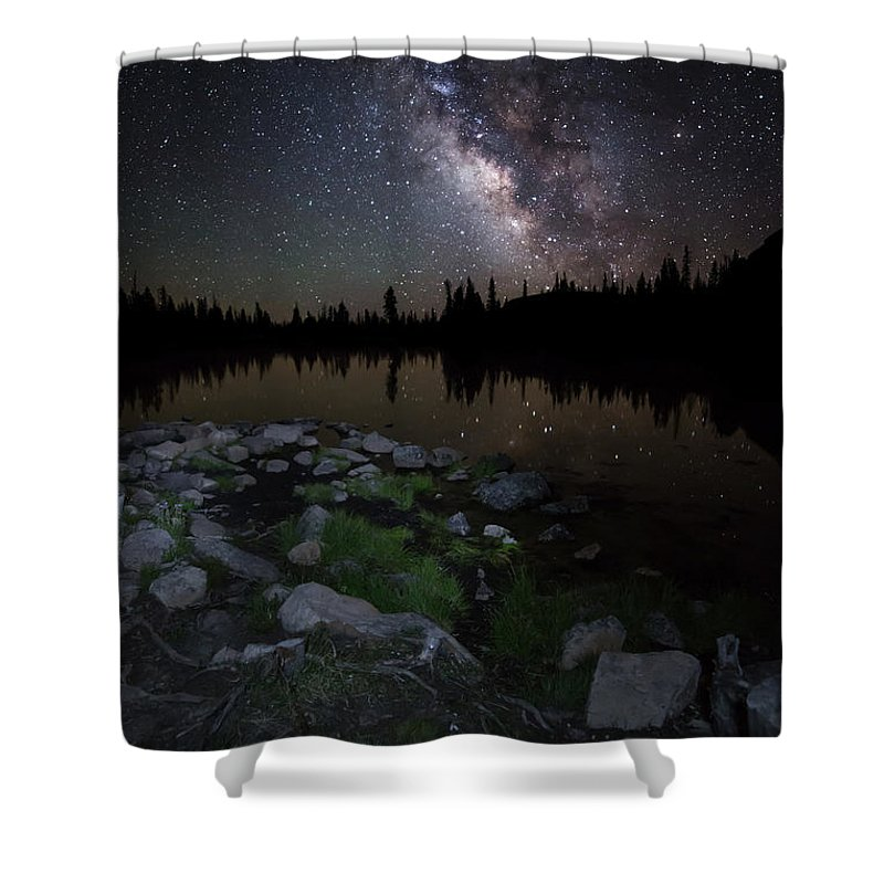 Milky Way Shower Curtain featuring the photograph Milky Way Over Pass Lake by Scott Law